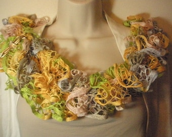 Multicolored Lacy Ruffled Knit Fashion Scarf