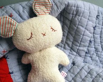 White Sleepy Bear Made from Organic Cotton Fleece - Baby Plush - Stuffed Animal - Plushie - Teddy Bear - Bunny - Easter - Sweet - Soft