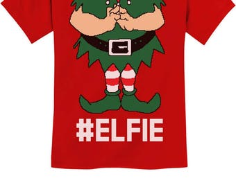 Elf Suit Funny Elfie Christmas Youth Kids T-Shirt