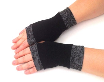 Fingerless gloves  black  with gray pattern  cuffs