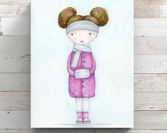 Baby, It's Cold Outside Canvas Print from original watercolor painting - Girl in Winter Coat - Wrapped Canvas Print