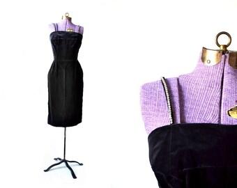 1950s Rhinestone Dress / Velvet Dress / 50s Little Black Dress XS Dress / Vintage Clothing / Party Dress / Girls Formal / Womens XS