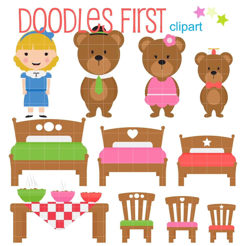 goldilocks and the three bears digital clip art for rh etsy com In Thier House and Goldilocks the Three Bears Clip Art goldilocks and the 3 bears clipart