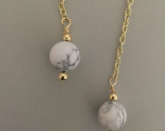 White Marble & Gold Howlite Drop Earrings - Minimalist