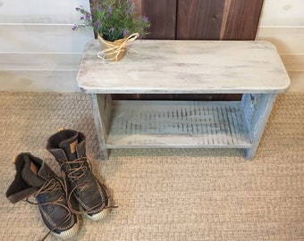 Painted Bench, Wooden Bench, Wood Bench, Entryway Bench, Bench, Grey Bench, Country Bench, Farmhouse Bench, Bench with Shelf, Shoe Storage,