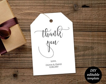 Wedding Thank You Tags, Thank You Wedding Printable, Gift Tags, Wedding Favors, Editable Template, DIY Printable Template, Instant Download