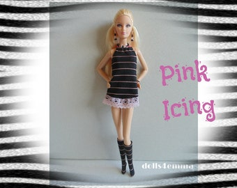 SALE = Model Muse Barbie Doll Clothes - Striped Dress and Boots and Jewelry Set - Custom Fashion - by dolls4emma