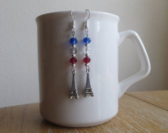 Red, white and blue Eiffel tower earrings