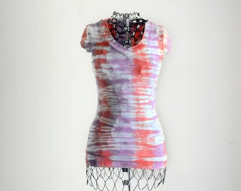 Tie Dye Shirt-Lavender and Coral Pink-Tshirt-Size Extra Small XS-Junior's Clothing