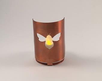 Bee copper tea light holder