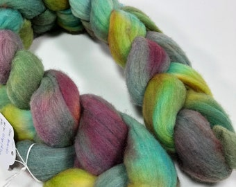 merino hand-dyed spinning fiber, roving, kettle-dyed, combed top in green, grey, violet, 4.2 oz