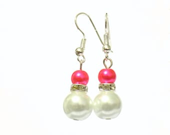 White and pink pearl earrings, white pearl earrings, pink pearl earrings, pearl earrings, drop earrings, dangle earrings, earrings
