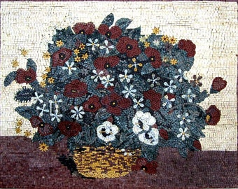 White and Red Coquelicot Mosaic Art