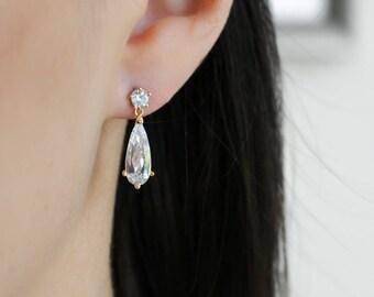 Long Teardrop Earrings, Bridal Earrings, Wedding Jewelry, Bridesmaids Earrings, Wedding Jewelry, Dangle Earrings, Sparkling Earrings, Gift
