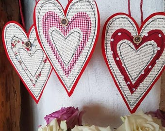 Red heart decoration - set of 3