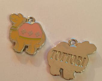 Camel yellow and pink enamel