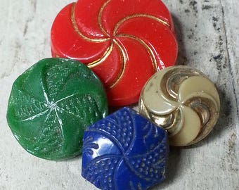 Fun Lot of 4 Vintage Glass Buttons - All with Pinwheel Design ~ Red Green Blue & Tan - Diminutive 3/8 inch to 11/16 inch or 10mm to 17mm