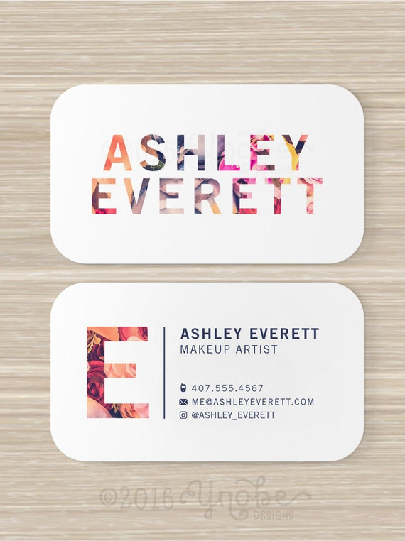 Floral business card flowers makeup artist vistaprint 35 like this item reheart Gallery