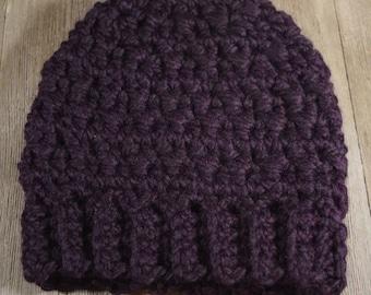 Crochet Messy Bun / Ponytail Hat ~ Eggplant