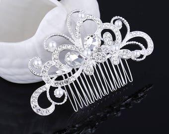 Bridal Hair Comb, bridal hair accessory, wedding hair clip, crystal hair comb, rhinestone hair clip
