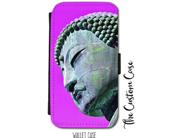 Buddha Wallet Case,Buddha Head Wallet Case, Samsung Galaxy Wallet Case, Iphone Wallet Case