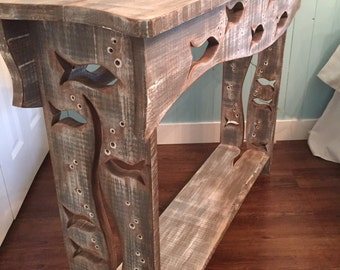 Wood School of Fish Sofa Table Hall Side Console Table Driftwood Colouring Art Furniture by CastawaysHall - READY TO SHIP