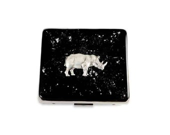 Rhinoceros 7 Day Pill Box Inlaid in Hand Painted Black Enamel w Silver Splash Safari Wildlife Inspired Personalized and Custom Color Options