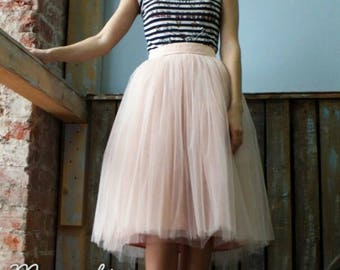 Tulle skirt with matching lining, fixed waistband with hidden zipper (color - Zephyr)