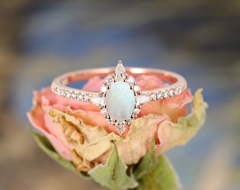 Opal Engagement Ring Rose Gold Oval Vintage engagement ring Unique Wedding Marquise Diamond Women Eternity Bridal Set Anniversary gift
