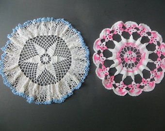 Two Crocheted Doilies Doily One PInk/White One Blue/White