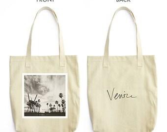Venice beach tote bag, black and white print, Venice California gift, Los Angeles, farmers market tote, school accessory, LA lovers