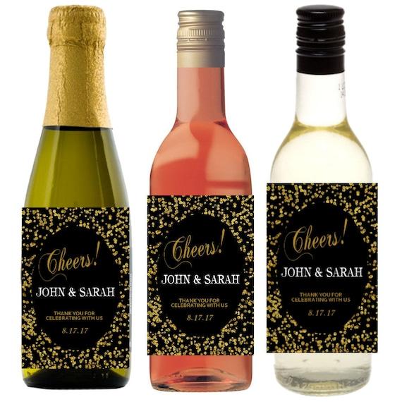 Wedding Favors Personalized Mini Champagne Bottle Labels 2x3