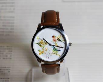 Vintage Bird watch,wrist watch, women Watch, Leather Watch