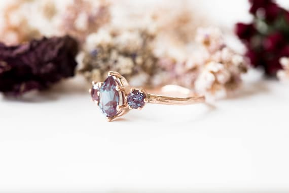 Pear alexandrite three stone twig engagement ring, 14k gold pear ring, alternative engagement ring, alexandrite ring, unique engagement ring