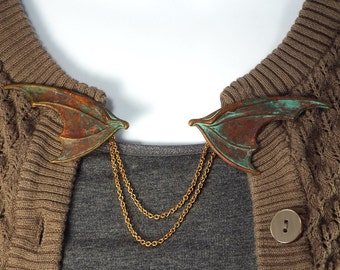 Dragon Wing Fantasy Cloak Clasp Sweater Clip Jewelry, Brass with Verdigris Patina