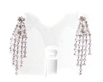 CLIP-ON Earrings Dangle Earrings Silver Tone Rhinestone Crystal Earrings 2 in long
