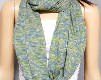 Space Dye -Infinity Scarf --Green-Blue-Cream   Jersey Knit