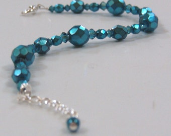 Swarovski Crystal and Fire Polished Bracelet - Indicolite and Aqua Carmen - Clearance