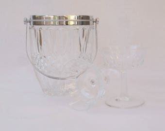 """Vintage French glass ice bucket with two Champagne """"coupe"""" glasses, ice bucket and Champagne glass set"""