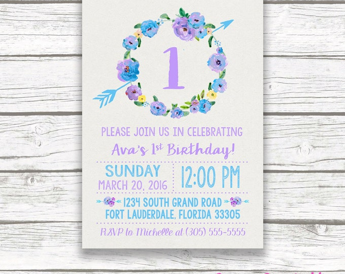 Purple and Turquoise Boho First Birthday Invitation, Girl One 1st Birthday Lavender and Blue Floral Wreath, Boho Arrow Printable Invitation