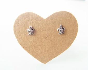 1 pair of Petite Turtle Post Stud Earrings, 92.5 % Oxidized Sterling Silver, Cartilage/Nose/ Earrings,Ocean Inspired  design , Nickel free .