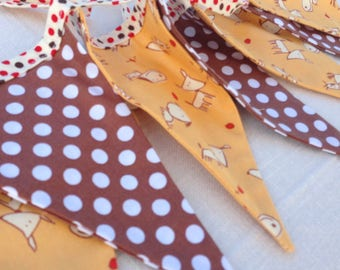 PUPPY DOG BANNER--Fabric Dog and Polka Dot Banner Bunting Flags Garland--Yellow Brown White-Boys Room--Nursery Bunting--Puppy Birthday Party