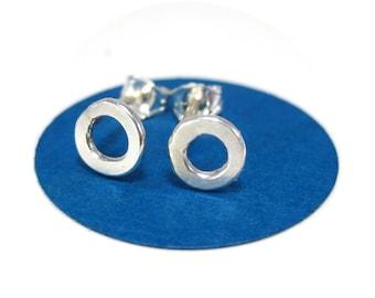 Organic Open Circle Stud Earrings Handmade Round Earrings in Silver