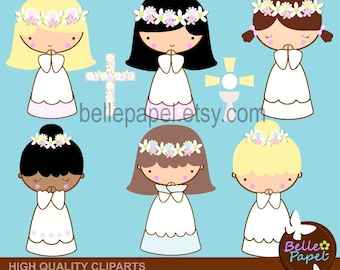 First Comunion Girls Flower Crown. Baptism. Comunion. Christening. PNG Digital Clipart Set. Personal and Commercial Use* INSTANT DOWNLOAD