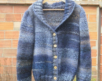 Loose-fitting vest, over-sized mottled several blues and taupe