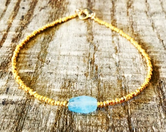 24k Dipped Gold Nugget Bracelet with Raw Aquamarine | Genuine Raw Aquamarine Bracelet with 24k Finished Karen Hill Tribe Silver Nuggets