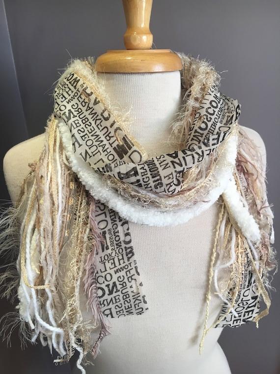 Fringe art scarf, Traveler, cream black  shaggy scarf, city print, Handmade Boho Scarf, travel gift, newsprint scarf, ribbon scarf
