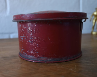 Red Metal Can with Lid