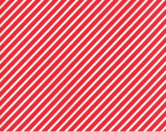 Vintage Holiday Bias Candy Stripe Red Yardage by Bonnie & Camille for Moda