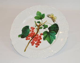 "Angelique 12"" white dinner plate (shown with image - Berry Branch w/ Butterfly)"